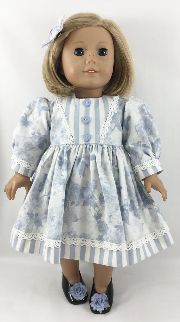 The Catharine Dress and Hair Bow Blue Roses and Stripes