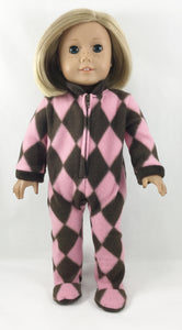 Susie Q Footie Pajamas Pink and Brown