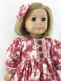 "The Catharine Dress and Matching Hair Bow Fits American Girl 18"" Dolls Roses and Plaid"