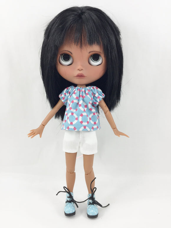 Made For Blythe Nautical Peasant Top and Side Pocket Shorts