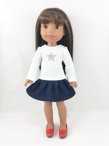 Star Graphic Tee and Skirt Fits AG WellieWishers