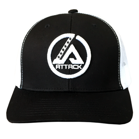 Attack Trucker Hat (Black/White)