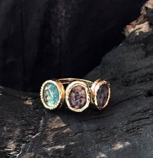 3 Oval Green Opal Ring