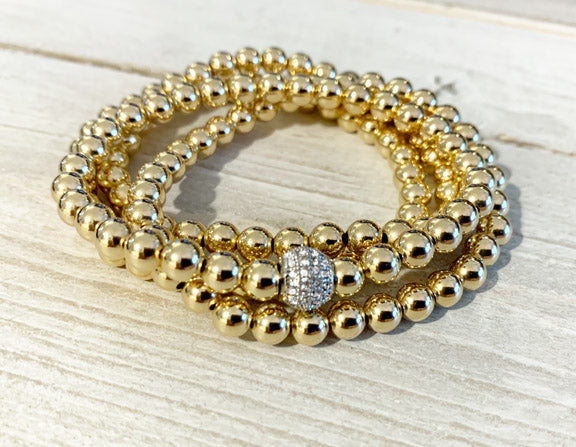 5MM Gold Filled Ball Bracelet with Pave CZ Silver Ball