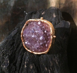 XL Round Amethyst Druzy Adjustable Ring