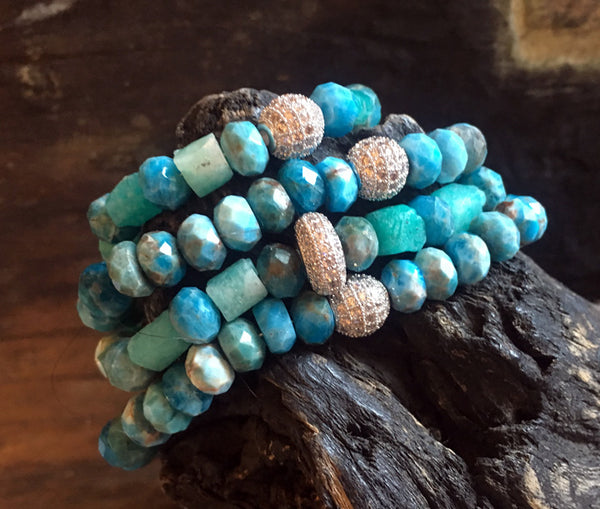 Blue Apatite Bracelets with Pave CZ Ball