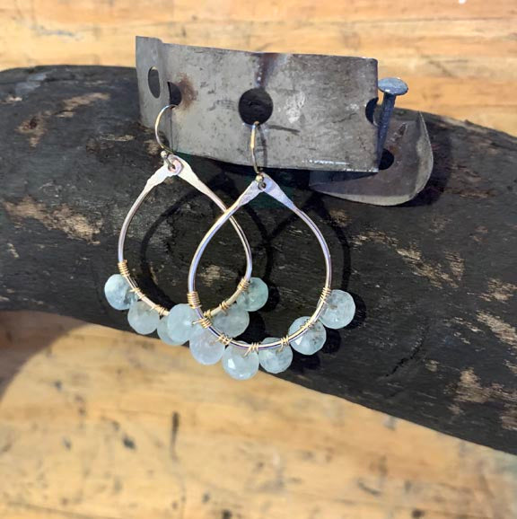 Gold Filled Hammered Aquamarine Earrings