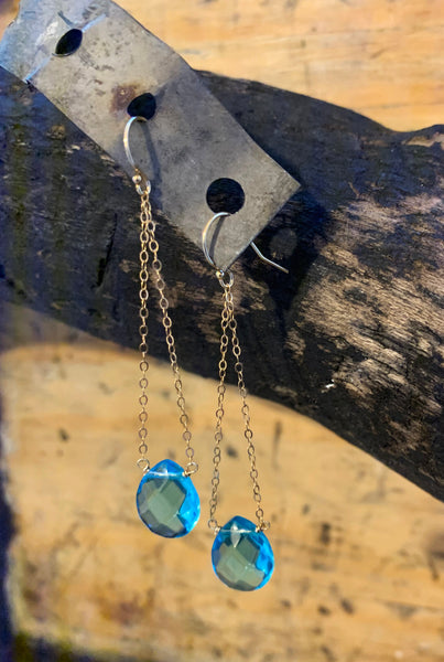 Aquamarine Chain Earrings