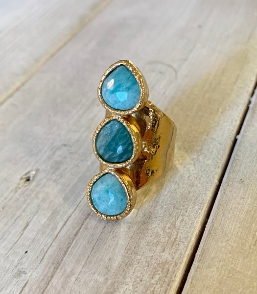 Aquamarine Larimar Three Stone Adjustable Ring