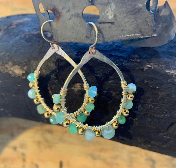 Aqua and Gold Filled Balls Hammered Earrings
