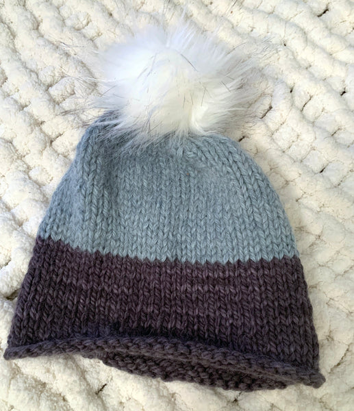 Light Blue with Dark Blue Hand Knit Baby Alpaca Beanie with Pom Pom
