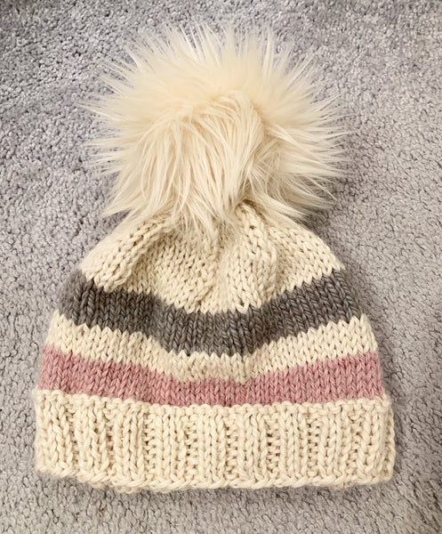 Cream Color Baby Alpaca Beanie with Pom-Pom