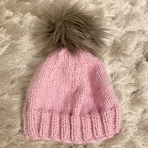 Light Pink Baby Alpaca Beanie with Pom Pom