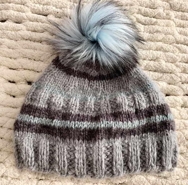 Gray Striped Baby Alpaca Beanie with Pom-Pom