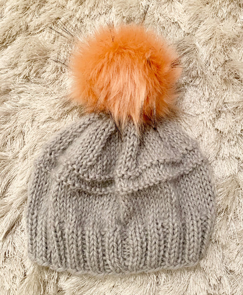 Hand-Knit Gray Baby Alpaca Beanie with Peach Pom Pom
