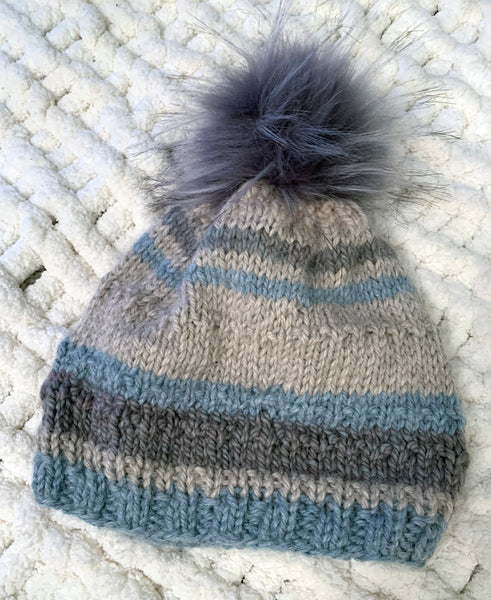 Cream Color Hand Knit Baby Alpaca Beanie with Pom Pom