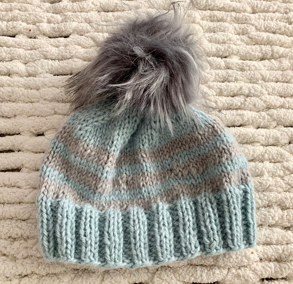Light Blue and Gray Baby Alpaca Beanie with Pom Pom