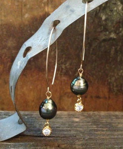 Black Tahitian Pearl Drop Earrings with CZ Dangle