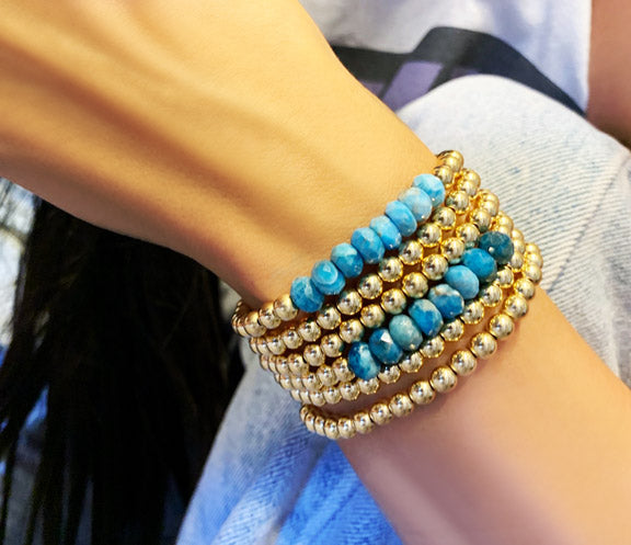 5MM Gold Filled Ball Bracelet with Blue Apatite