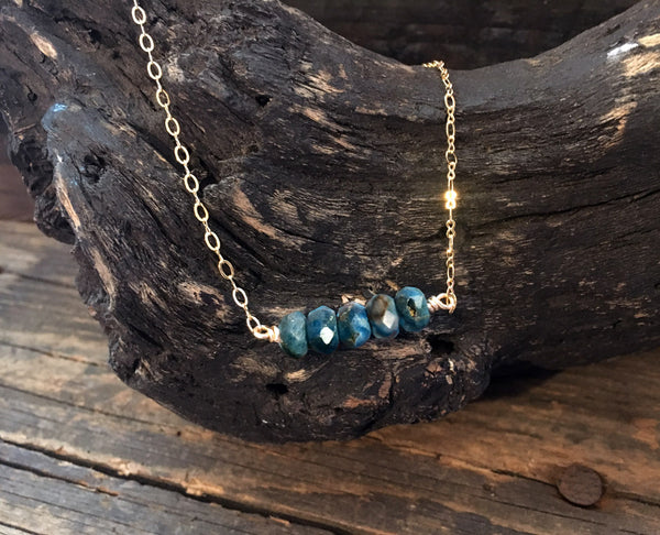 Blue Apatite Bar Necklace