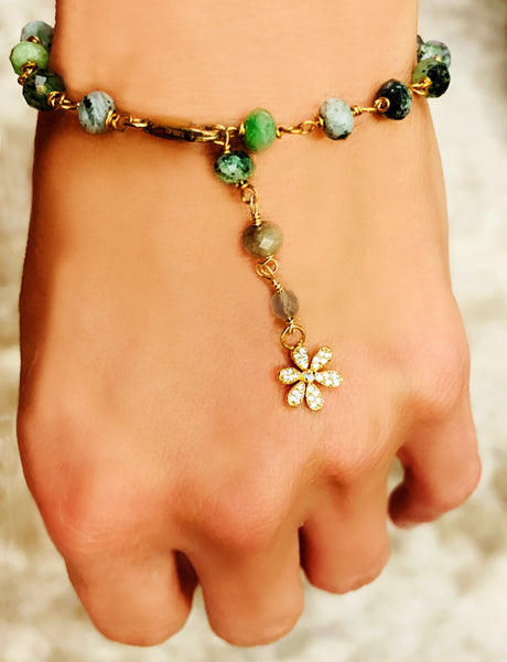 Green Zoisite Wire Wrap Bracelet with Opal Flower Dangle