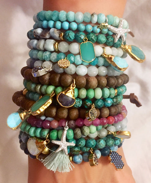 Stacked Mix and Match Bracelets with Dangles