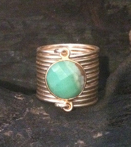 Chalcedony Small Wire Wrap Ring