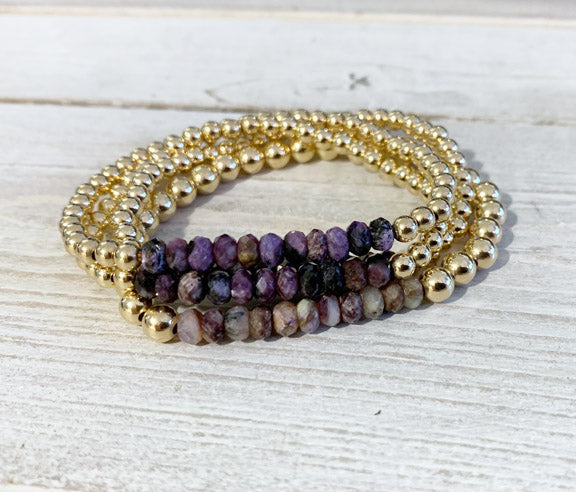 Gold Filled 4MM Bracelet with Charoite