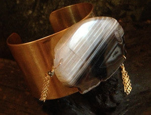 Brass Cuff with Dark Brown and White Agate