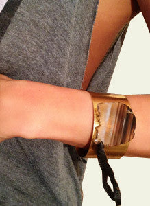 Brass Cuff with Brown Agate