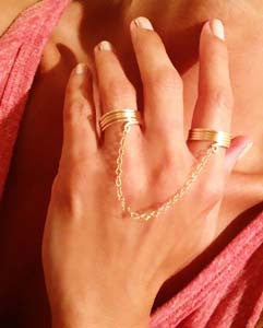 Double Wrap Ring with  Simple Hand Chain