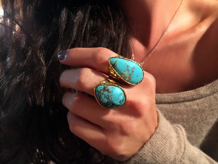 XL Teardrop Turquoise Adjustable Ring
