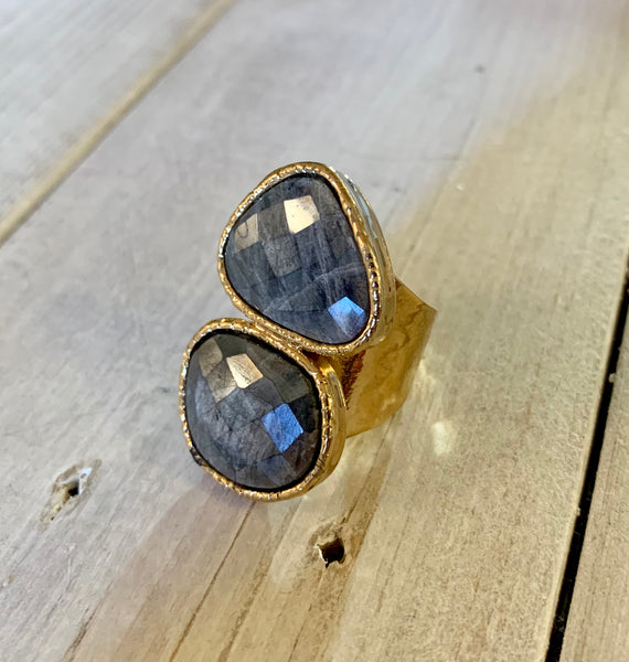 Double Mystic Moonstone Grey Adjustable Ring