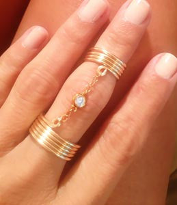 Double Wrap Ring with Chain
