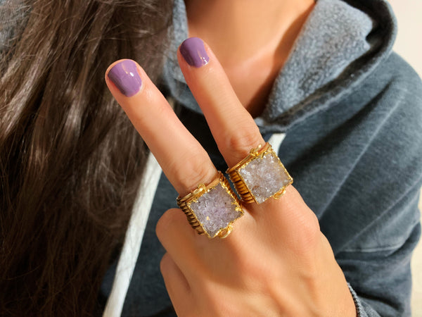Medium Square Druzy Wire Wrap Rings