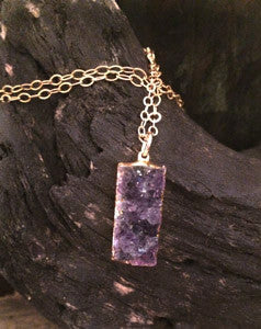 Raw Druzy Rectangle Tag Pendants