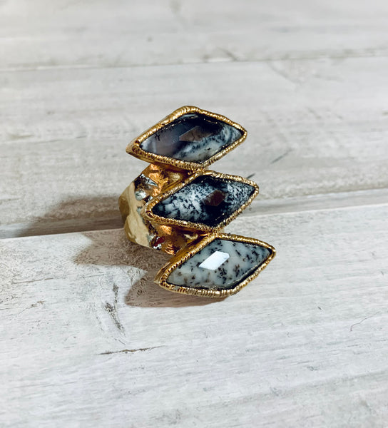Dendritic Opal Three Stone Adjustable Gold Overlay Ring