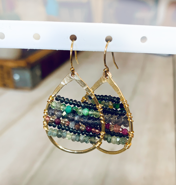 Mixed Stones Gold Filled Oval Hammered Earrings