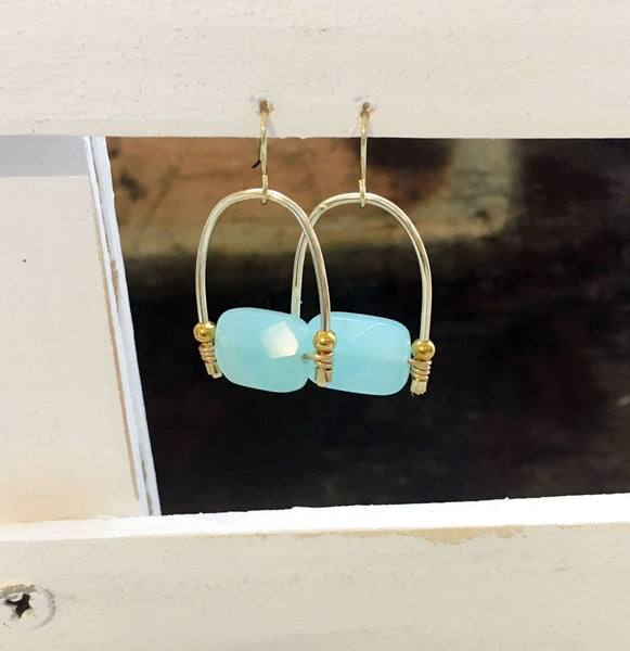 Aquamarine Gold Filled Earrings