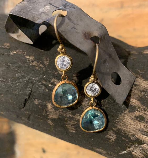Aqua Earrings with CZ