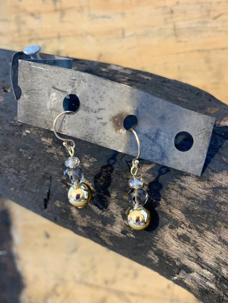 Gold Ball and Crystal Earrings