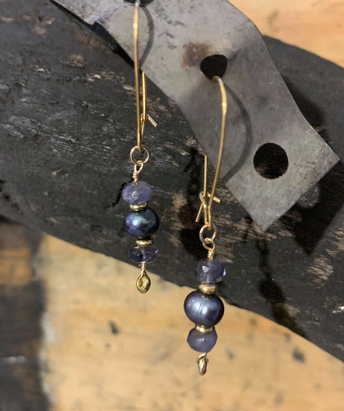 Tahitian Pearl and Iolite earrings