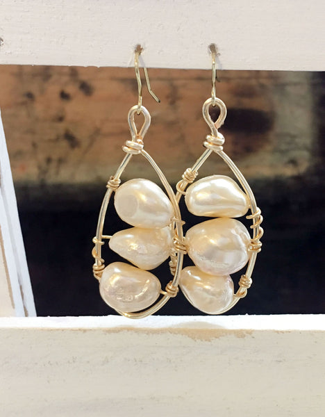 Fresh Water Pearl Gold Filled Oval Earrings