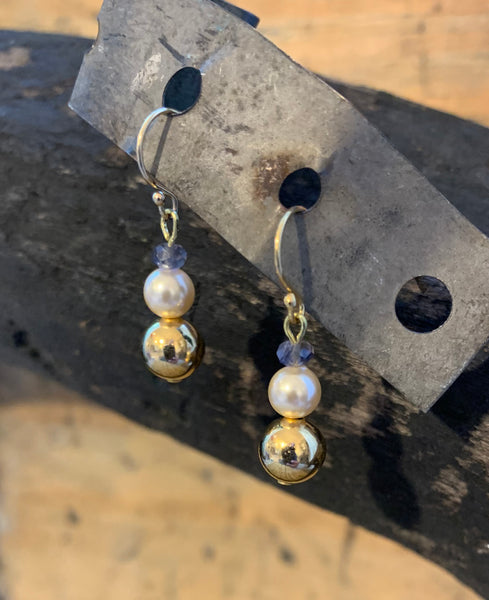 Fresh Water Pearl, Gold Ball and Iolite Earrings