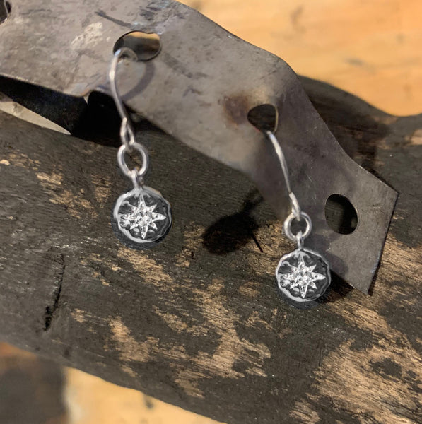 Silver Circle With Starburst CZ Earrings