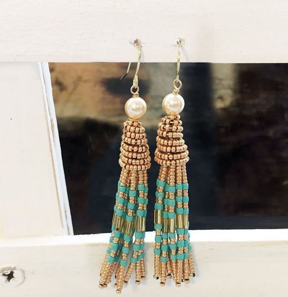 Turquoise and Fresh Water Pearl Tassel Earrings