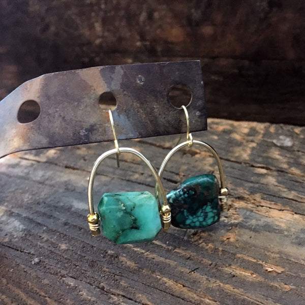 Raw Turquoise Gold Filled Earrings