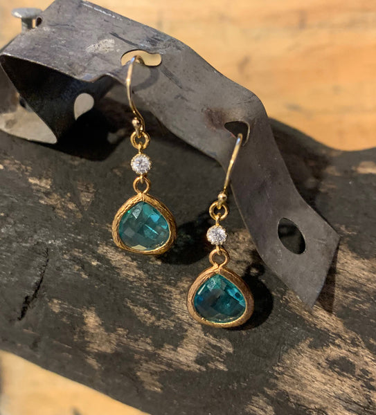 Turquoise with CZ Earrings