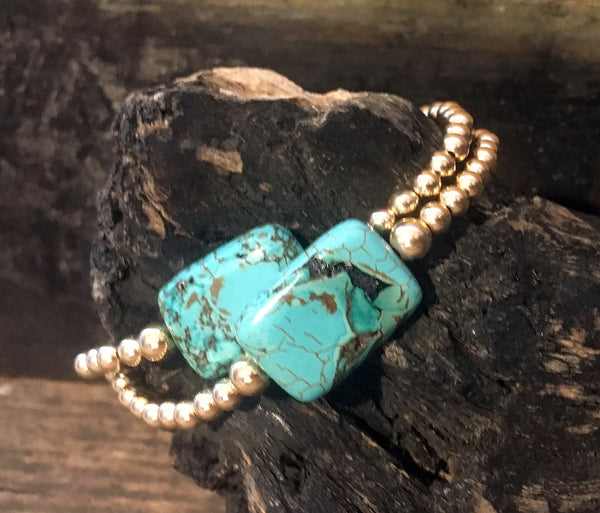 Gold Filled Ball Bracelet with Turquoise Stone on Stretch Cord
