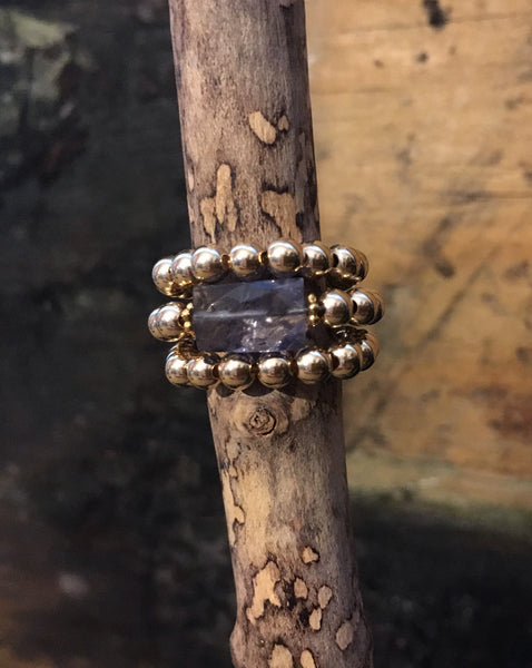 Gold Filled Ball Ring with Iolite